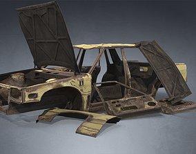 Abandoned Rusty Wrecked Sedan 3D asset