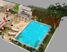3D model Furnished floor plan