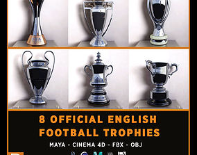 All English League Trophies 3D Model Cinema 4D low-poly 1