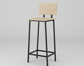 3D asset low-poly Wood Steel Barstool