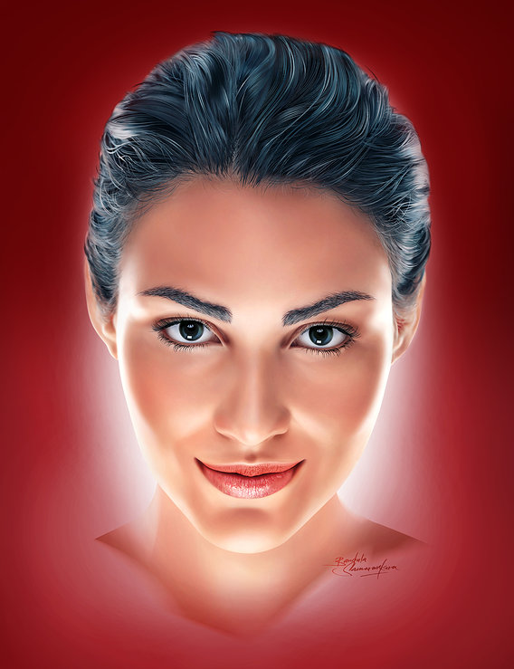 The Digitally airbrushed portrait in Photoshop.