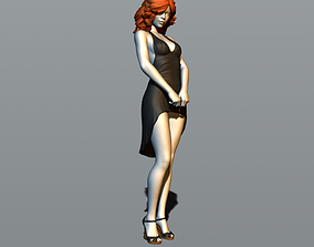 lady 3D printable model Pretty girl in evening dress