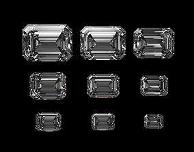 3D model Diamond Emerald Different Sizes