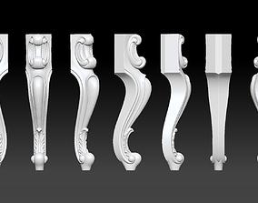 CABRIOLE CARVED Furniture Leg 3D Models set - 014