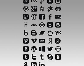 Social icons logo 3D