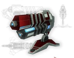 Blaster cannon 03 sci-fi simple 3D model