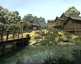 Chinese Village Ancient mountain village 3D asset
