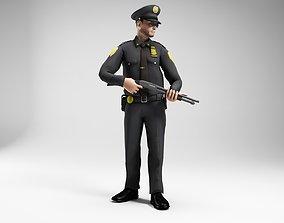polieman gun in hand ready to shoot low 3D model 2