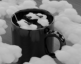3D model Tea Blackbird Jets and Clouds scene