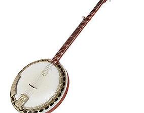 3D model low-poly Banjo music instrument