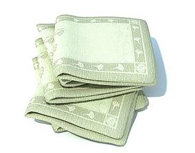 3D model Green Patterned Towels Folded