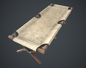 3D model low-poly American Army Folding Bed-WWII