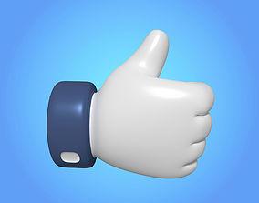 3D asset Like Button - Cartoon Hand