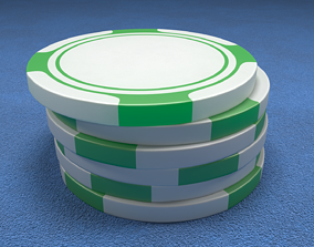 Poker Chips Green and White 3D