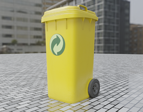 Yellow Bin 120L Low-Poly-Version Rigged 3D asset