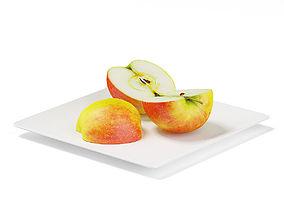 3D Sliced Apples on White Plate