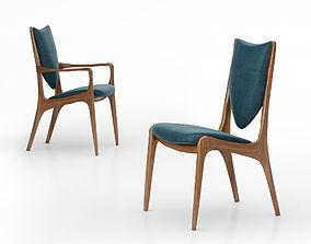 Vladimir Kagan Shield back dining side chair Vk 3D model
