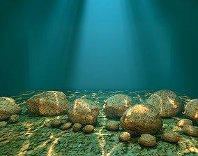 3D stone rock seascape
