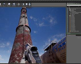 3D asset chimney TEZ industrial 4k