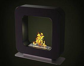 Modern Black Fireplace 3D