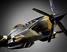 3D model low-poly P-51 advanced mustang