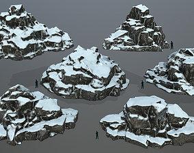 snow rocks 3D model VR / AR ready winter