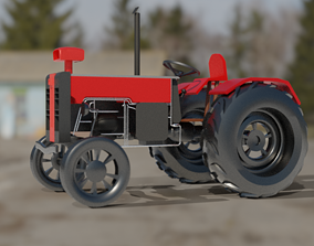 animated Tractor 3D Model