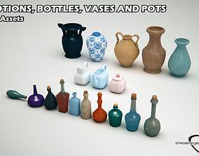 Potions Bottles and Vases Bundle 3D asset