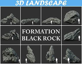 3D asset Low poly Black Rock Formation Pack 191228