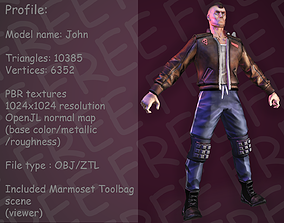Low-poly model of the character biker John