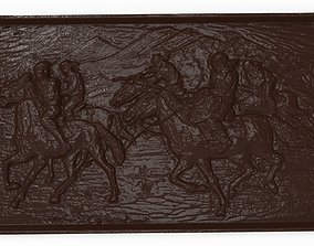 Asian horsemen Bas relief for CNC 3D print model