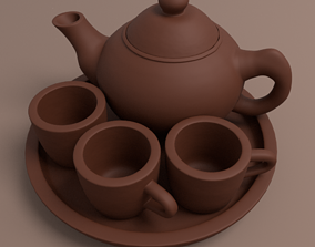 3D Traditional Tea Pot Set originally made of clay