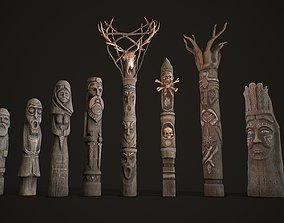Wood Totems Pagan Deities Collections 3D model realtime