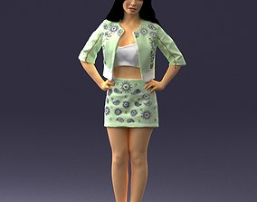 Brunette in a green jacket and skirt 0251 3D model