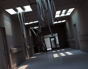3D Damaged Hallway White