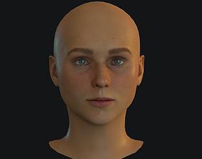 3D asset Woman Head Low Poly BPR