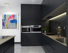 house 3D model Kitchen with Black Color