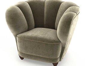 3D Danish 1940s Viggo Boesen Style Club Chair in Beech and