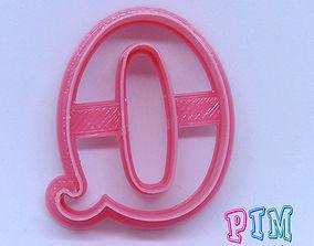 3D printable model Vintage letter Q cookie cutter