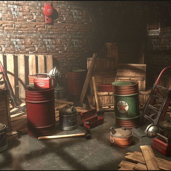 Vintage Storage Room. Real-Time Environment.