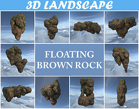 Low poly Brown Floating Island Mossy Rock Pack 3D asset