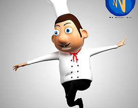 Chef Chartoon Character Rigged 3D asset