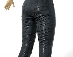 3D asset Trousers Shiny Leather Black women Men Clothing