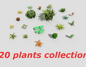 3D asset VR / AR ready low poly plants collection