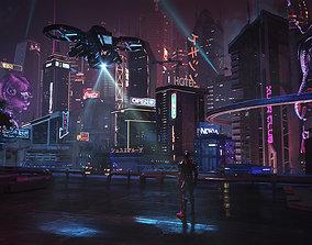 3D model cyberpunk city