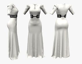 Royal Shoulder Long Dress 3D asset