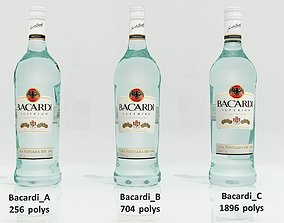 realtime 3D Low-poly and medium-poly Bacardi alcohol