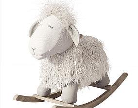 3D model Rocking wool plush Lamb chair toy Rocker for Kids