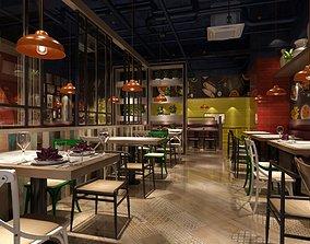 3D Model modern restaurant bistro architecture