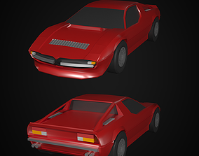 3D asset low-poly Maserati Merak 1975 Lowpoly